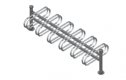 Bicycle  rack 3d elevation