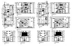 Big kitchen all sided section, plan and auto-cad details dwg file