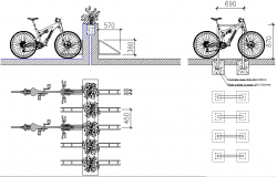 Bike rack view detail dwg file