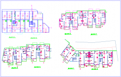 Block C to O plan with structural view for high rise building dwg file