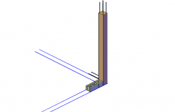 Block construction with column 3d view dwg file