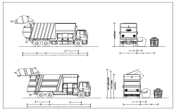 Block of garbage truck dwg file