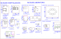Block of hospital for hospitalization dwg file
