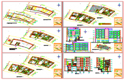 Block of multi family 8 storeys 1 unit per floor design drawing