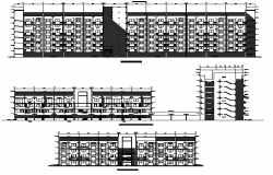 Block vise elevation view with lateral side section of multi-flooring residential apartment dwg file