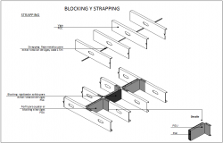 Blocking and y strapping connection detail dwg file