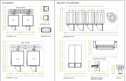 Blocks details of laundry area equipment of hospital dwg file
