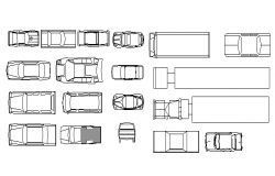 Blocks of car and loading truck design dwg file