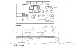Boat restaurant main elevation and plan cad drawing details dwg file