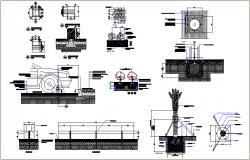 Bollard plan & section view, tree plantation construction detail dwg file