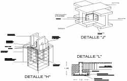 Bolt nut and foundation plan detail dwg file