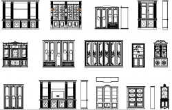 Bookcases design detail dwg file