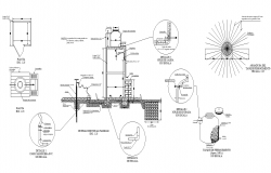 Bore hole pump detail section 2d view layout file