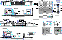 Boundary wall of main gate architecture project details dwg file