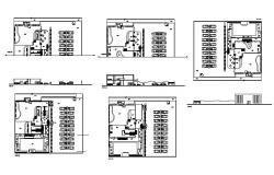 Bowling sports center elevation, section and plan details dwg file