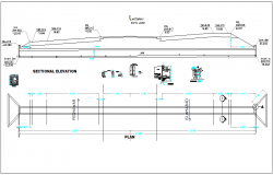 Box culvert full close structure plan view detail, section of structure dwg file