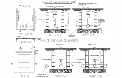 Box of air valve plan and section detail dwg file