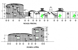 Brick detail wall elevation dwg file