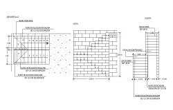 Brick wall blocks and constructive structure cad drawing details dwg file