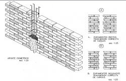 Brick wall construction details dwg file