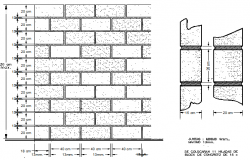 Brick wall construction details of school dwg file