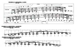 Bridge elevation, section and construction cad drawing details dwg file