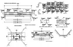Bridge elevation, section and construction details dwg file