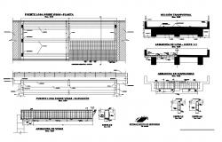 Bridge section, plan and beam structure and construction details dwg file