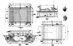 Bridge section, plan and constructive details dwg file