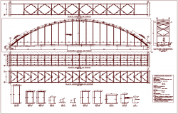 Bridge structural view elevation and plan dwg file