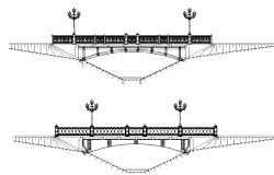 Bridge with street lights elevation dwg file
