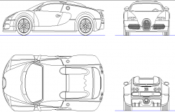 Budatti veyron car detail dwg file