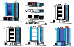 Building Interior and exterior elevation view dwg file