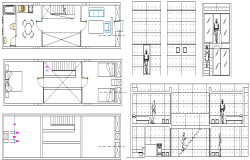 Building apartment elevation section view dwg file