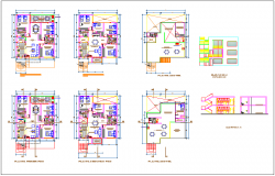 Building apartment flat plan detail view dwg file