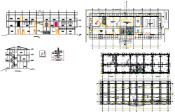 Building apartment structure detailing with elevation and section view dwg file