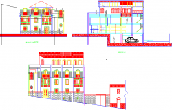 Building collection and control elevation dwg file