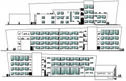 Building drawing with different elevation details in dwg file