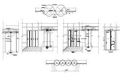 Building entrance structure detail section 2d view layout file