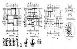Building floor plan area of 11.08mtr x 11.05mtr with foundation details in autocad