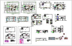 Building floor plan view,sectional and elevation view with sanitary,structural and hydrolyze plan view dwg file