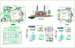 Building front elevation view and plan with construction detail dwg file