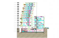 Building in height mixed use elevation design dwg file