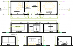 Building layout plan and sectional detail dwg file