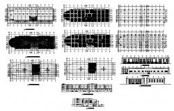Building plan, elevation and sectional detail CAD structural block layout autocad file