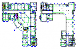 Building plan area, section view and elevation view  dwg file