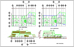 Building plan center line plan detail and elevation plan detail dwg file