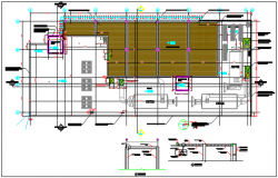 Building plan detail and elevation plan, section plan detail dwg file
