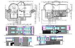 Building plan elevation details CAD drawing