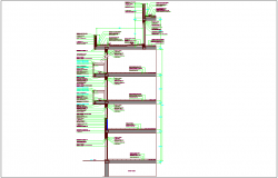 Building section with construction view dwg file